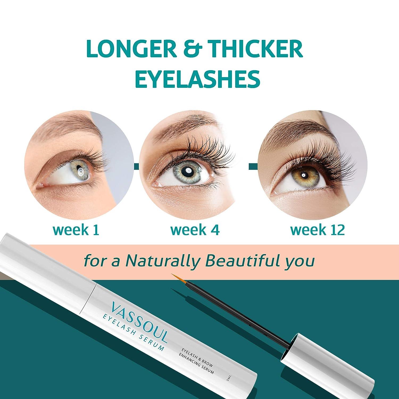 629ac7ff390 Amazon.com: VASSOUL Eyelash Growth Enhancer & Brow Serum, Natural and  Powerful for Long, Luscious Lashes and Eyebrows: Best Travel Mug: Kitchen &  Dining