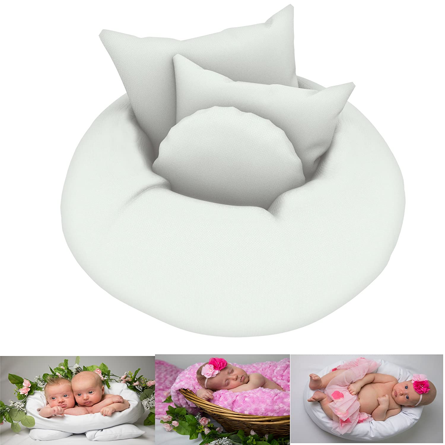 Amazon com newborn posing pillow set of 4 pcs baby photography props improved version donut shaped basket filler or photo prop for babies infants