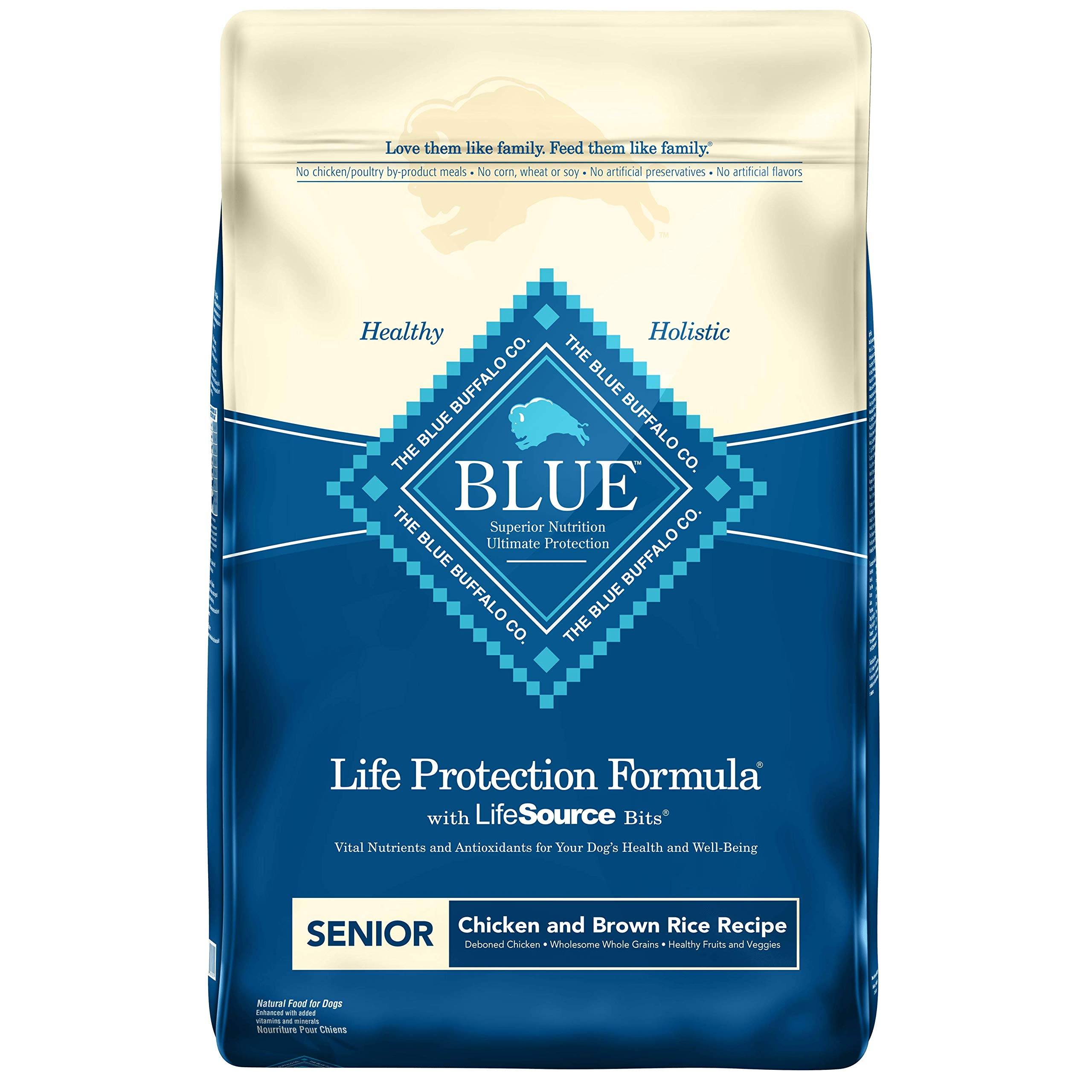 Blue Buffalo Life Protection Formula Natural Senior Dry Dog Food, Chicken and Brown Rice 6-lb