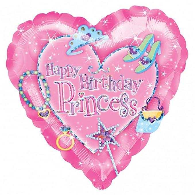 Amscan Palloncino Buon Compleanno Principessa A Forma Di Cuore