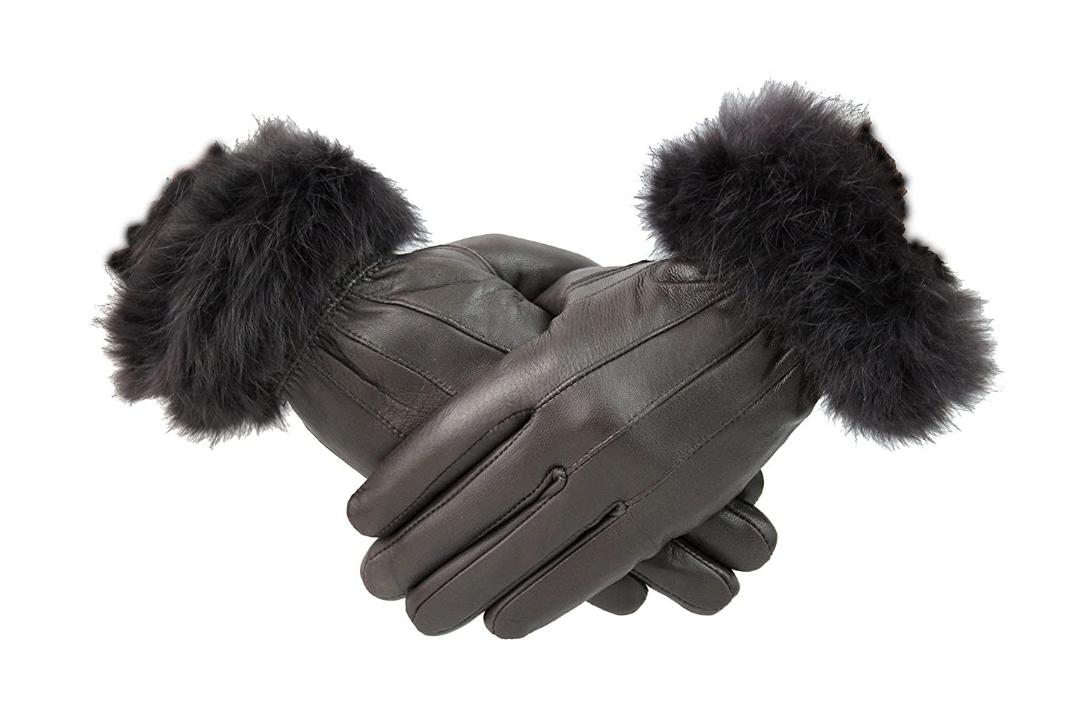 Womens Ladies Blue Leather Gloves With Fur Trim Fleece Lined Winter Christmas