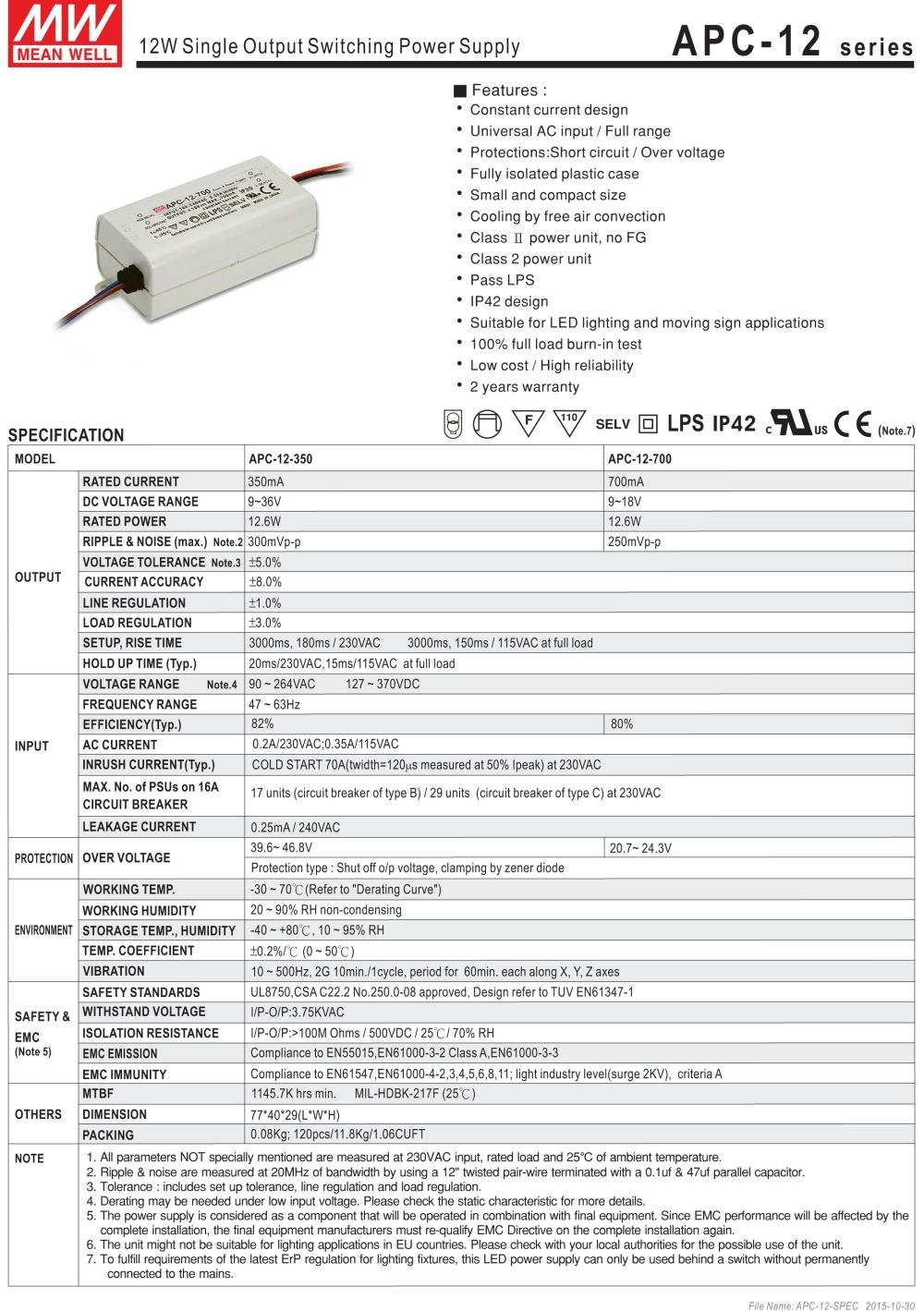 MEAN WELL ,Switching Power Supply LED Driver;110V-220V AC-DC Single Output 、Constant Current,Transformer,12W 9-18V 700mA (APC-12-700) by MEAN WELL (Image #2)