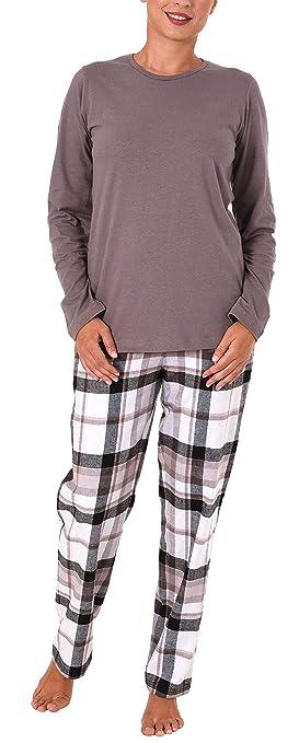 NORMANN WÄSCHEFABRIK Damen Flanell Pyjama Mix & Match Hose Flanell, Top Single Jersey - auch in Übergrössen