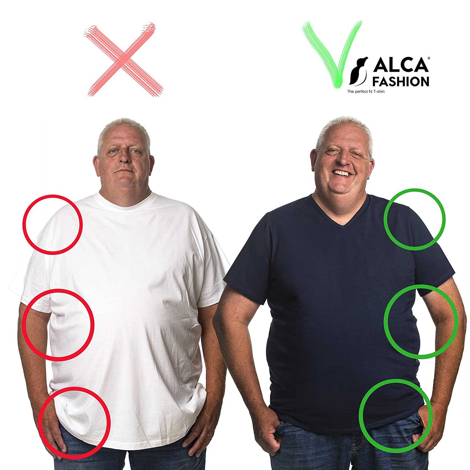 Alca Classic 2pack V-Neck T-Shirt for Big Size Man from XXL-B to 8XL-B