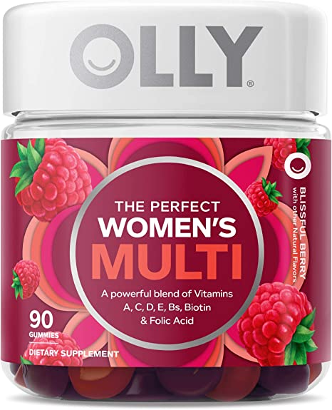 OLLY Women's Multivitamin Gummy, Vitamins A, D, C, E, Biotin, Folic Acid, Chewable Supplement, Berry Flavor, 45-Day Supply - 90 Count