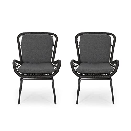 Alice Outdoor Wicker Club Chair with Cushions Set of 2 , Gray and Dark Gray