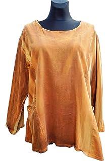 b88f46dd4540 Labass Damen Tunika Shirt Cotton Lagenlook Kurzarm Übergröße A-Stil Gr.  48-50