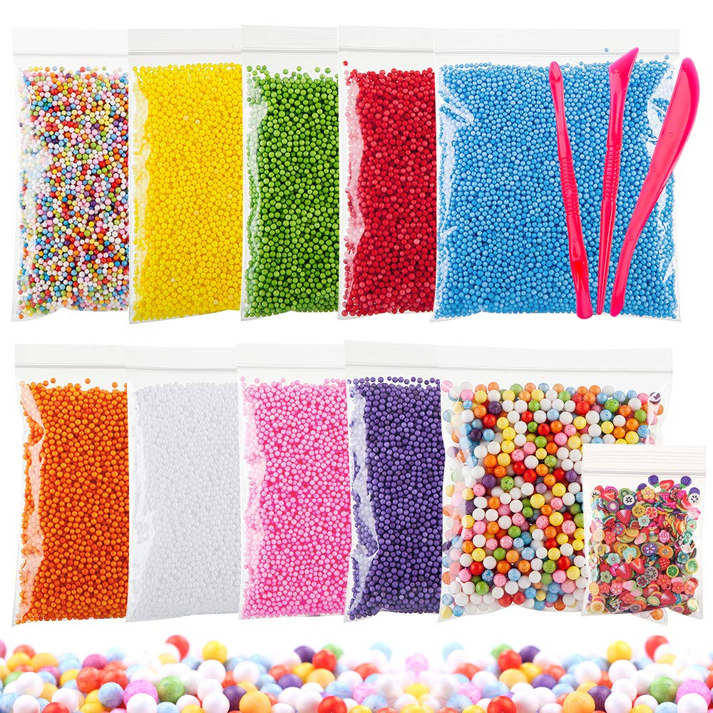 Styrofoam Beads for DIY and Slime Supplies – Craft Foam Balls 0.1-0.35 inch (92,000pcs) for Kids Homemade Slime, Home Decorative, Wedding and Party Decorations (10 Pack)
