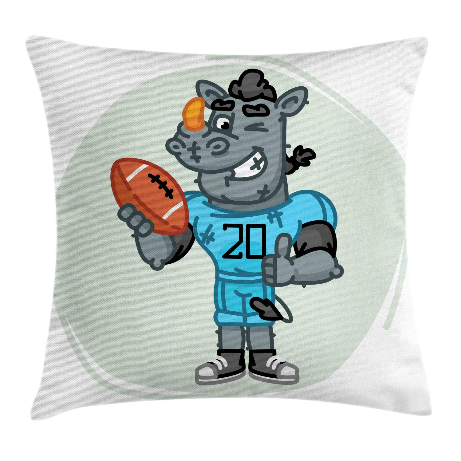 Ambesonne Rhino Throw Pillow Cushion Cover, Football Mascot Animal with Jersey and Ball Cartoon Style Composition Doodle Nursery, Decorative Square Accent Pillow Case, 36'' X 36'', Multicolor