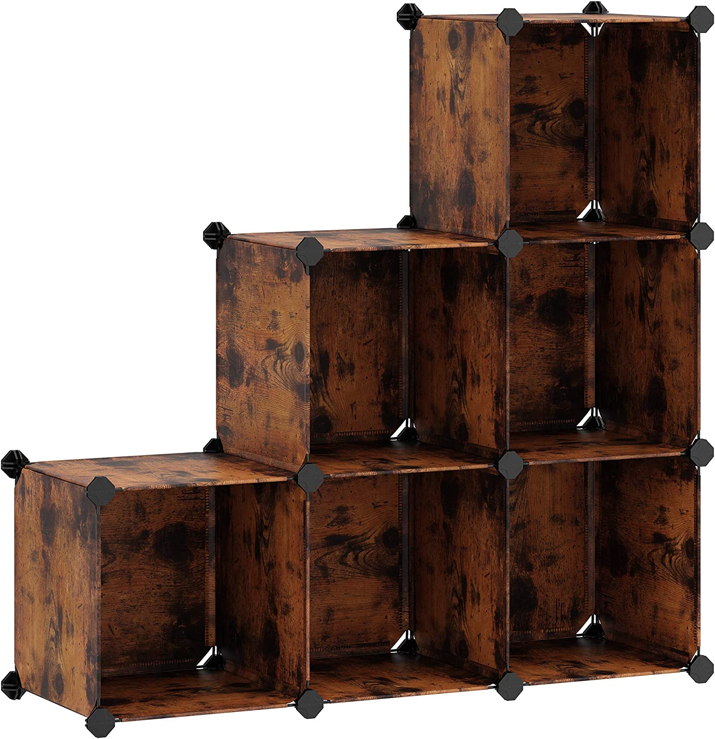 SONGMICS Cube Storage Organizer, 6-Cube Closet Storage Shelves, DIY Plastic Closet Cabinet, Modular Bookcase, Storage Shelving for Bedroom, Living Room, Office, with Mallet, Rustic Brown ULPC111A01