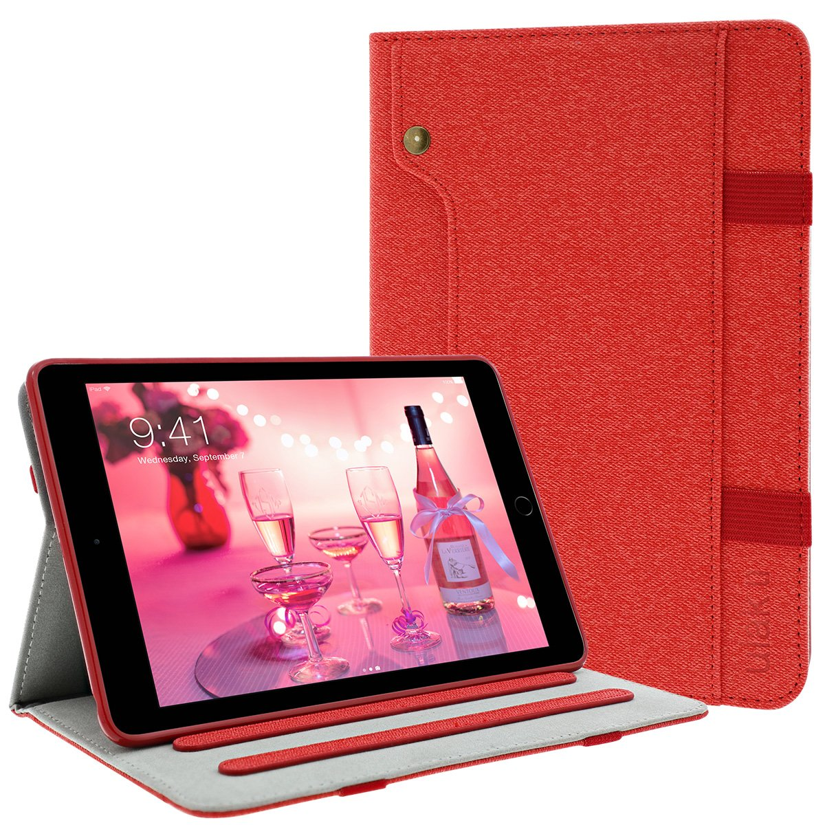 360 Degree Rotating Folio Synthetic Leather Stand Case Slim Fit Smart Cover with Auto Sleep//Wake Feature for Apple New iPad 9.7 2018//2017 Negro ULAK New iPad 9.7 2017 Case iPad 9.7 2018 Case