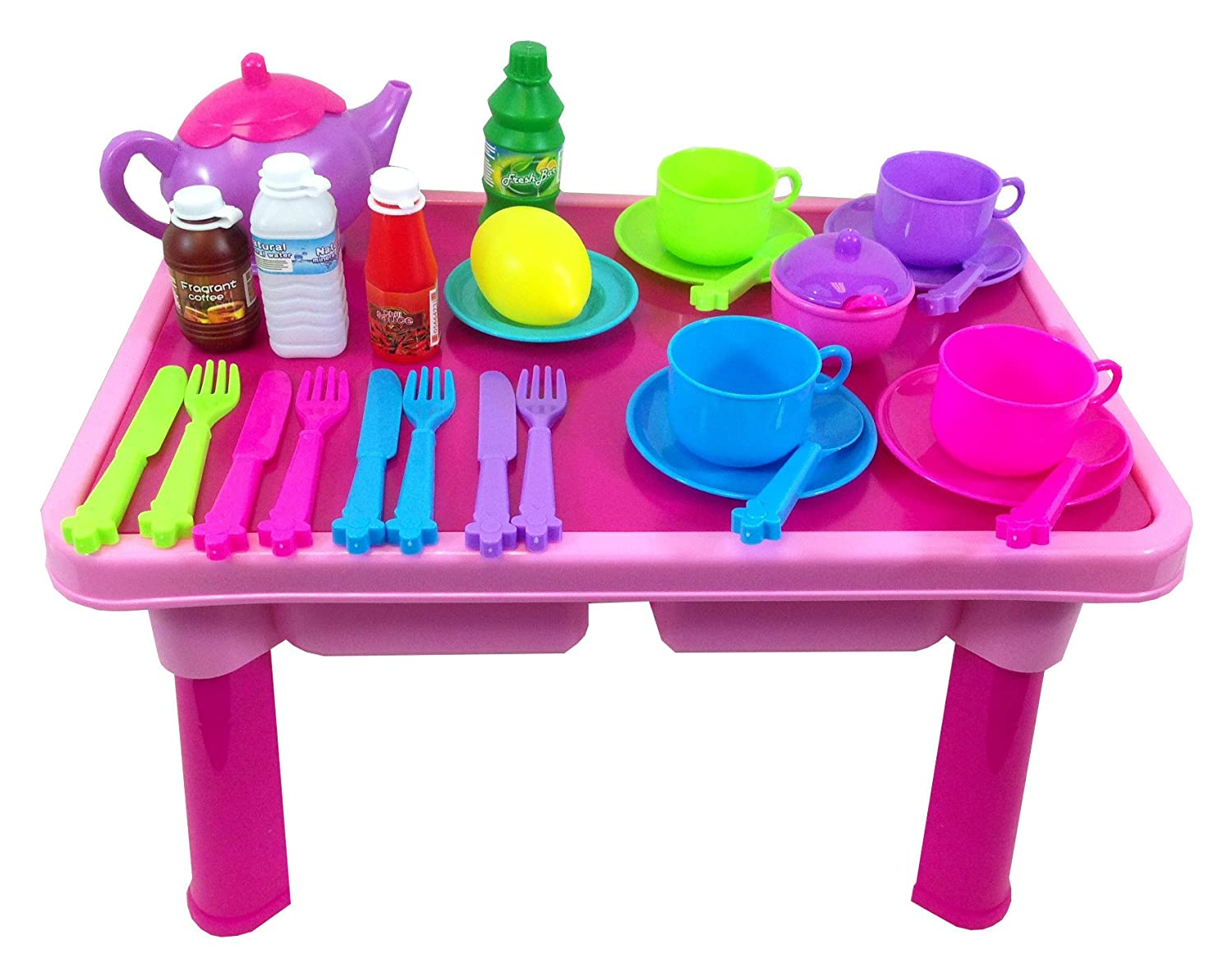 Childrens, Kids Toy Pretend Tea Set and Table over 29 pieces: Amazon ...
