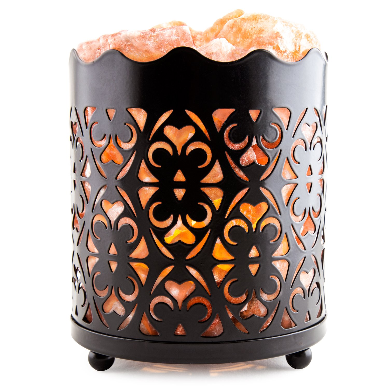 CRYSTAL DECOR Natural Himalayan Salt Lamp with Salt Chunks in Cylinder Design Metal Basket and Dimmable Cord - Choose Your Variation (Flanigan)