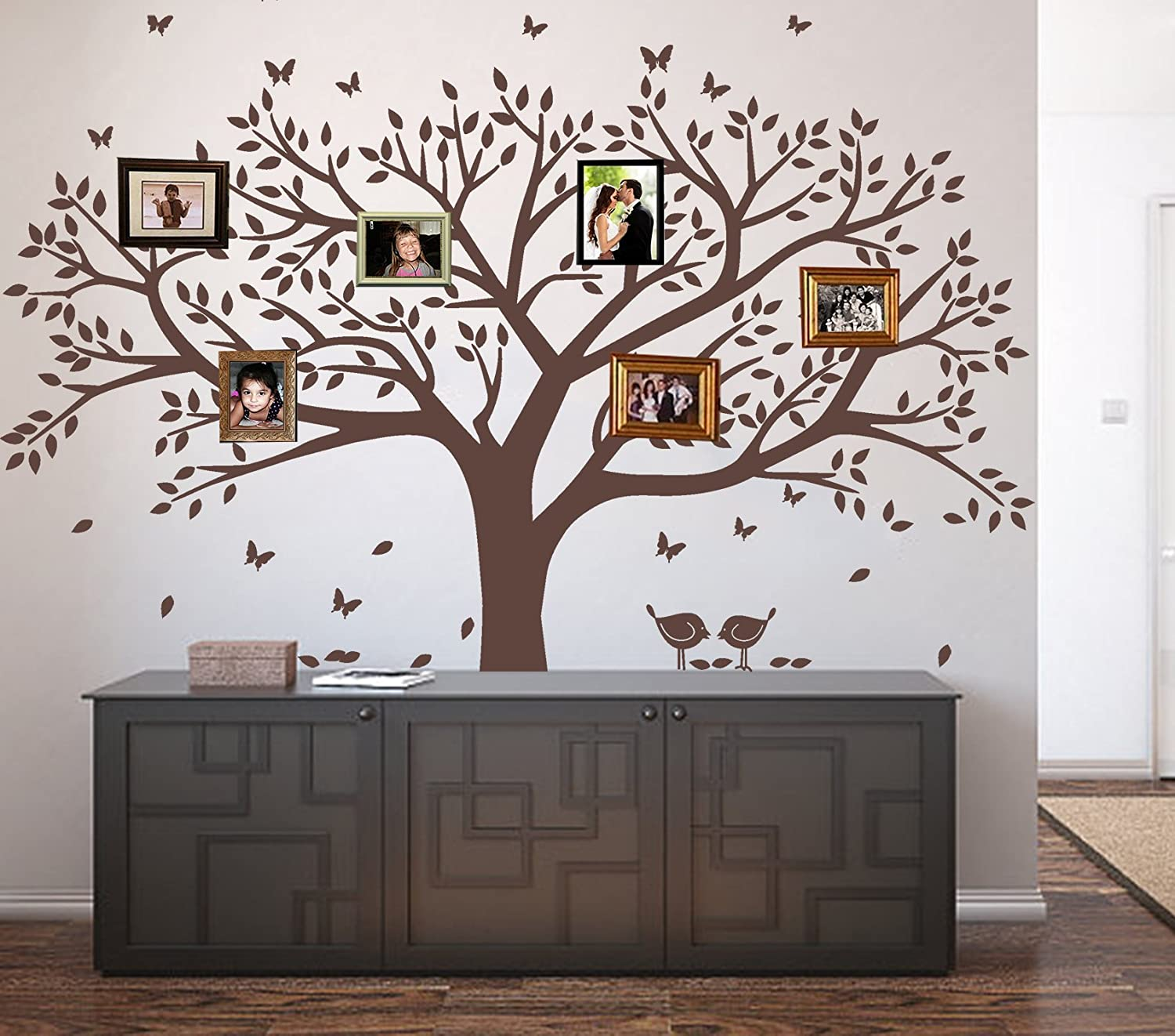 "LSKOO Family Photo Frame Tree Wall Decals Family Tree Decal Living Room Home Decor (108"" wide x 84"" tall) (Brown)"