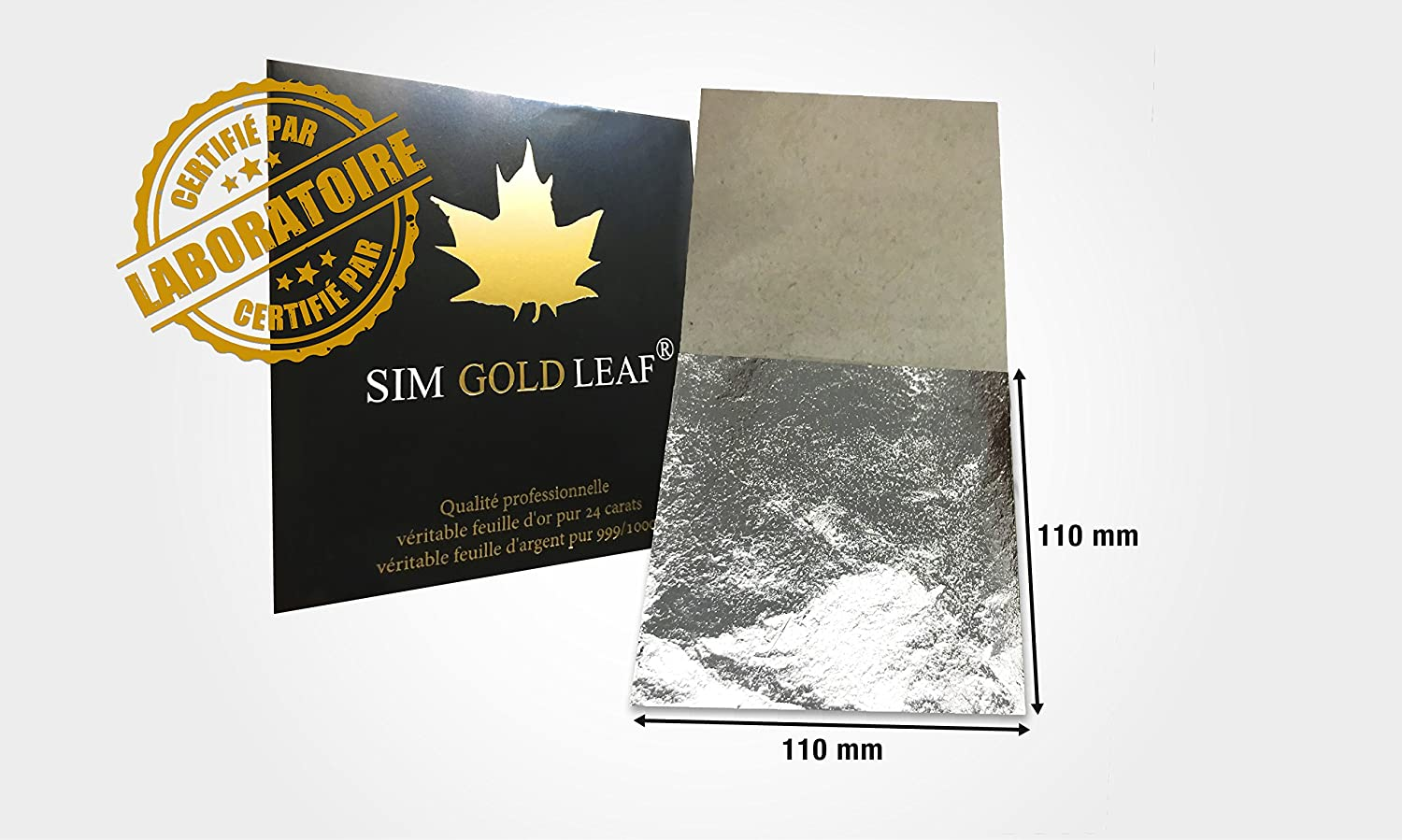 sim gold leaf Professional Quality Genuine EDIBLE Silver Leaf Sheets, 25 Sheets, Super Large 4-2/5 inches (Loose Leaf/InterLeaf Sheets) sim depot 25fa110