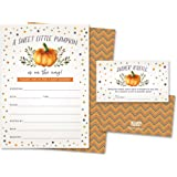 Sweet Little Pumpkin on The Way Rustic Fall Baby Shower Invitations and Diaper Raffle Tickets in Autumn Colors, Fall Leaves,