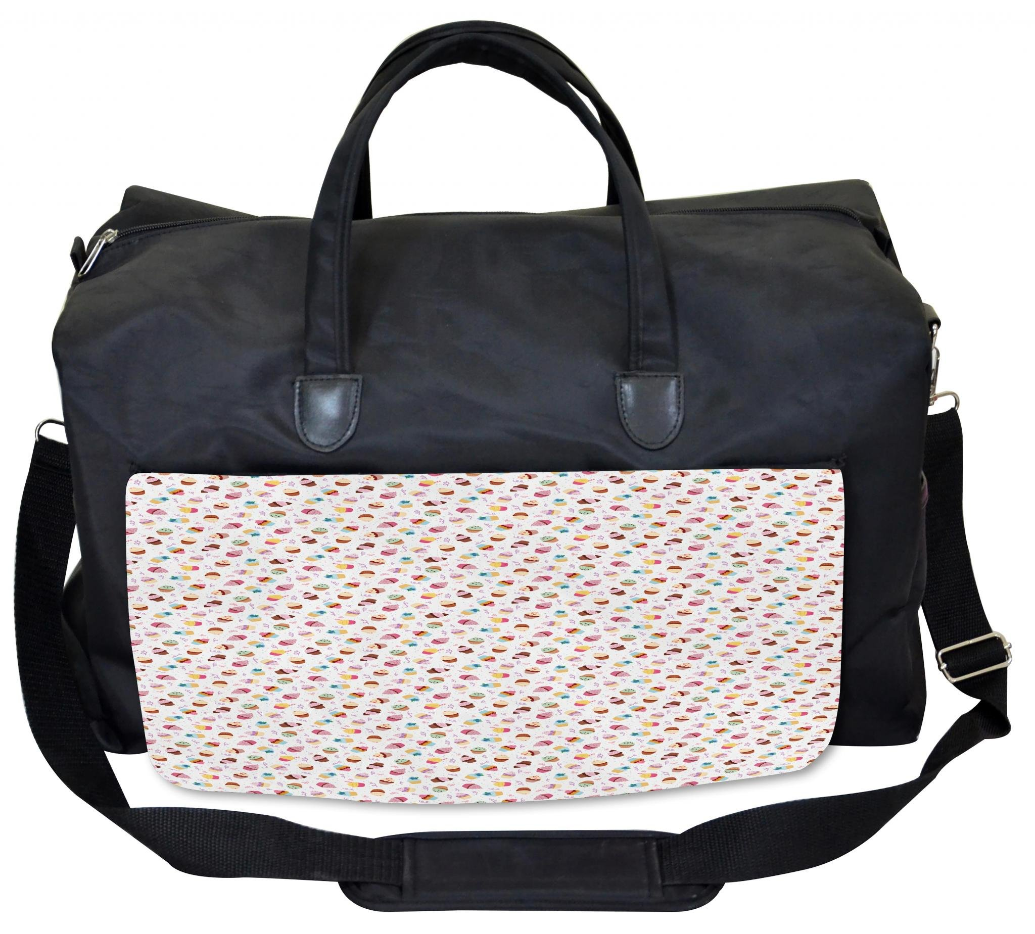 Lunarable Dessert Gym Bag, Yummy Cupcakes Sprinkled, Large Weekender Carry-on by Lunarable