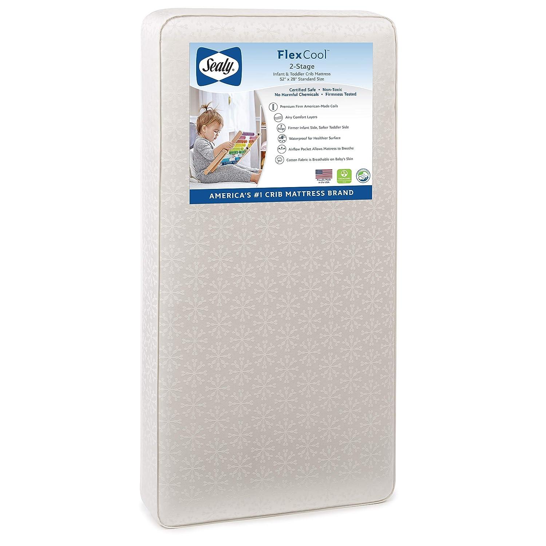 Amazon Com Sealy Baby Flex Cool 2 Stage Airy Dual Firmness Waterproof Standard Toddler Baby Crib Mattress 51 7 X 27 3 Furniture Decor