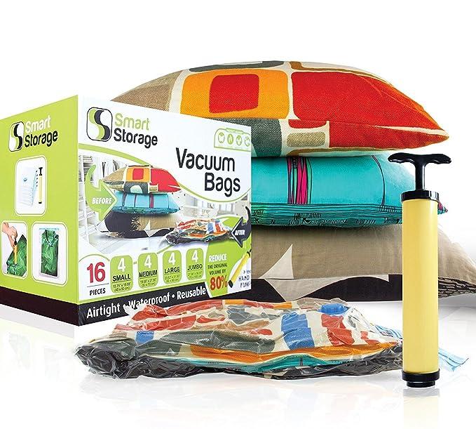 Bolsas de Almacenamiento al Vacío, Pack de 16 de Smart Storage | Bolsas Ahorradoras de Espacio para Ropa, Almohadas y Pijamas, Equipaje | Bolsas de ...