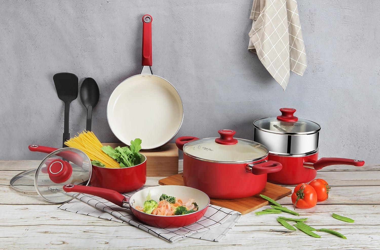 Lovepan 12 Piezas Batería de Cocina Roja Juego de Ollas y Sartenes Antiadherentes con Recubrimiento Cerámico Blanco Juego de Cacerolas y 2 ...