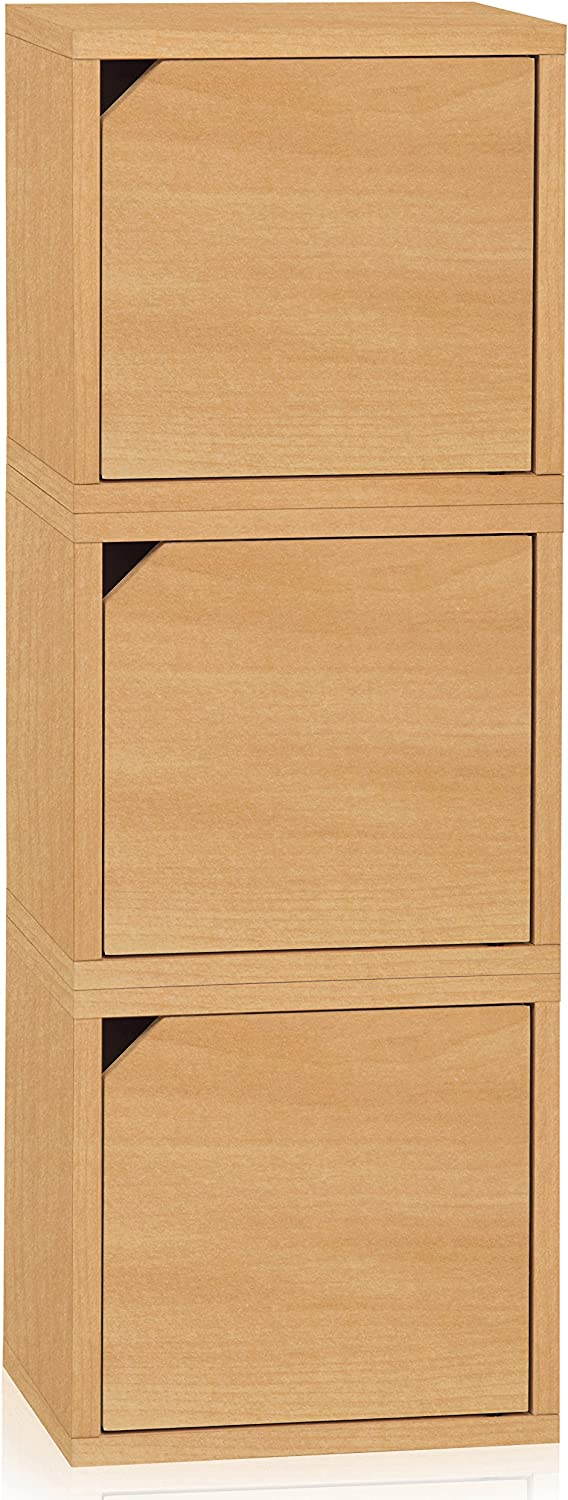 Way Basics Eco Stackable Connect 3-Cube Storage with Doors, Natural Wood Grain (Tool-Free Assembly and Uniquely Crafted from Sustainable Non Toxic zBoard paperboard)