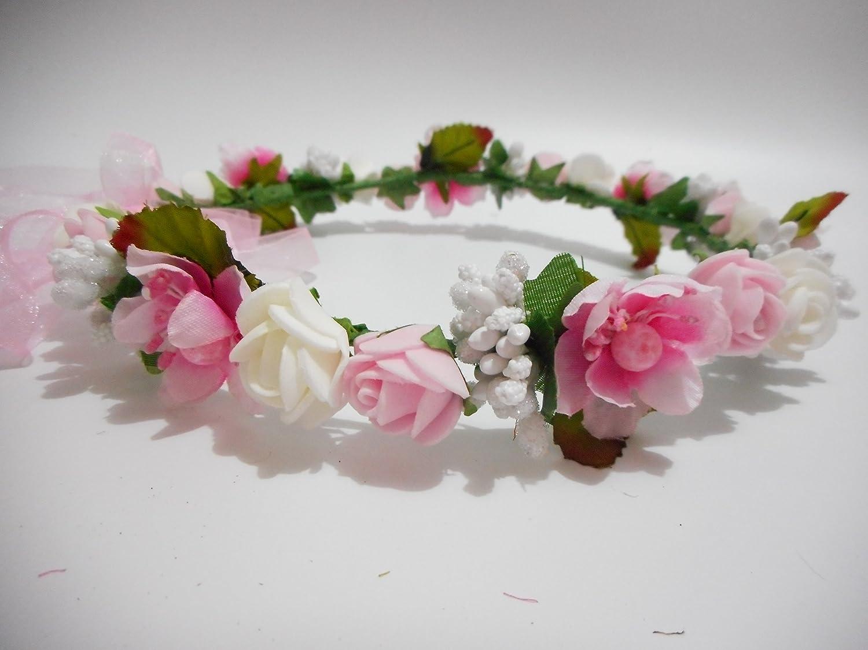 Hippy Decorative PE Foam Rose Flower Girl Crown Flowers Headband Wreath  Garland Floral Headpieces Hippie Wedding Hair Band Piece Accessories for  Brides Pink ... a107d3f1385