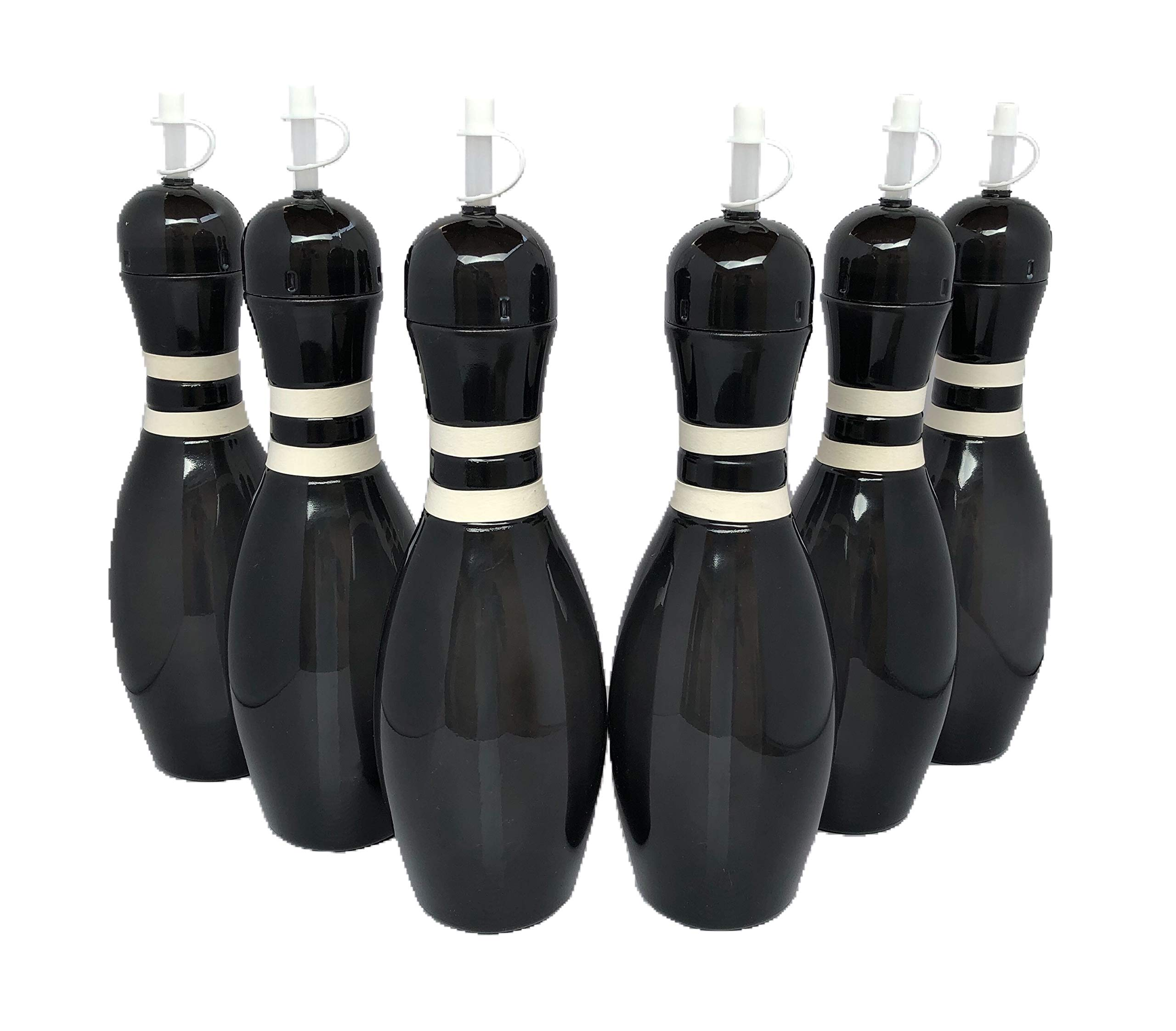 Large Bowling Pin Water Bottles Black - 6 Pack by Sierra Novelty Bowling Stuff