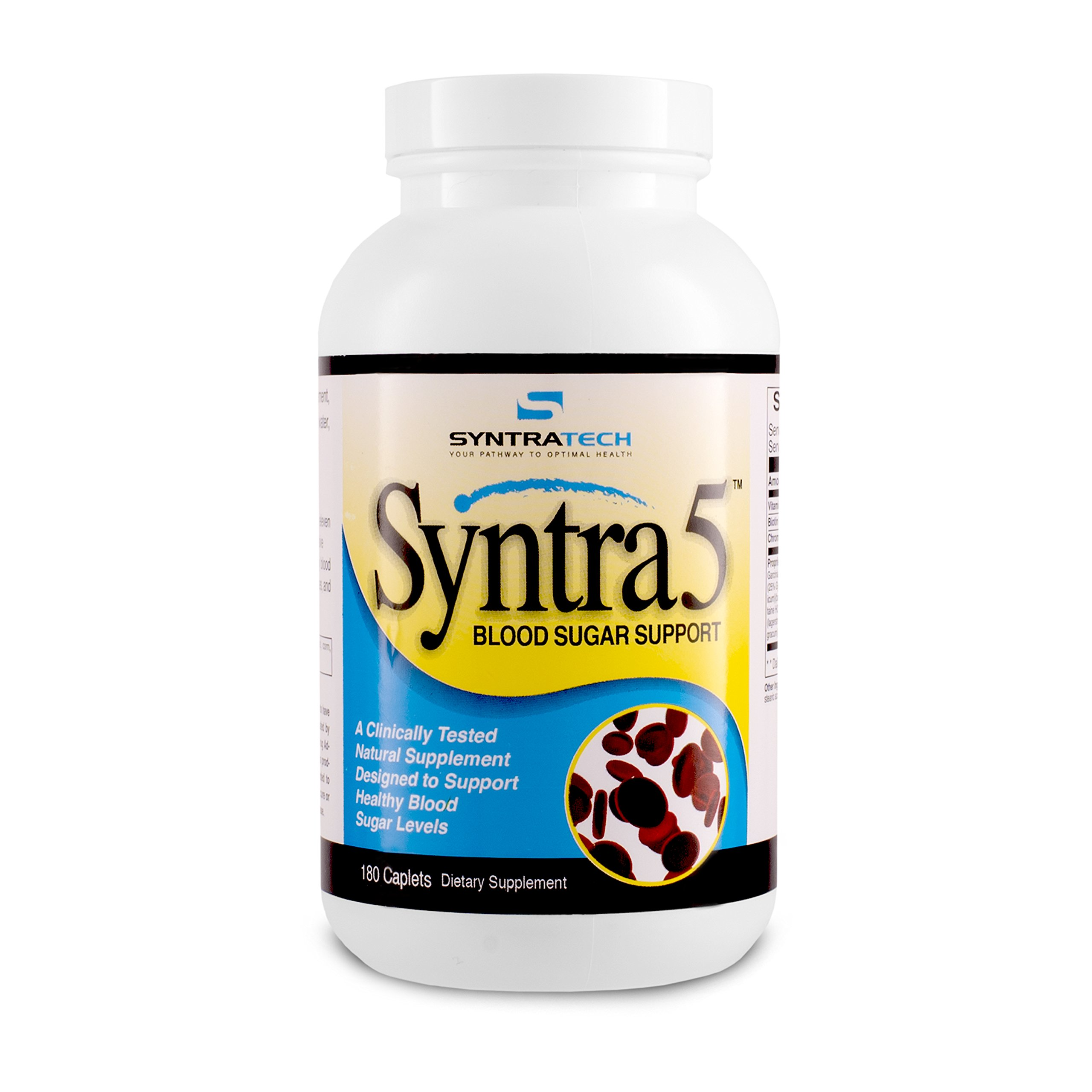 Syntratech Syntra5 180 Caps - Multi-Faceted Blood Sugar Support Formula - Assists In Maintaining Healthy Blood Sugar Levels - Backed By Clinical Research
