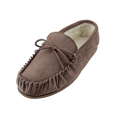 SNUGRUGS Zapatillas de lana de cordero tipo Mocasín, con suela de ante suave, color marrón, talla 3