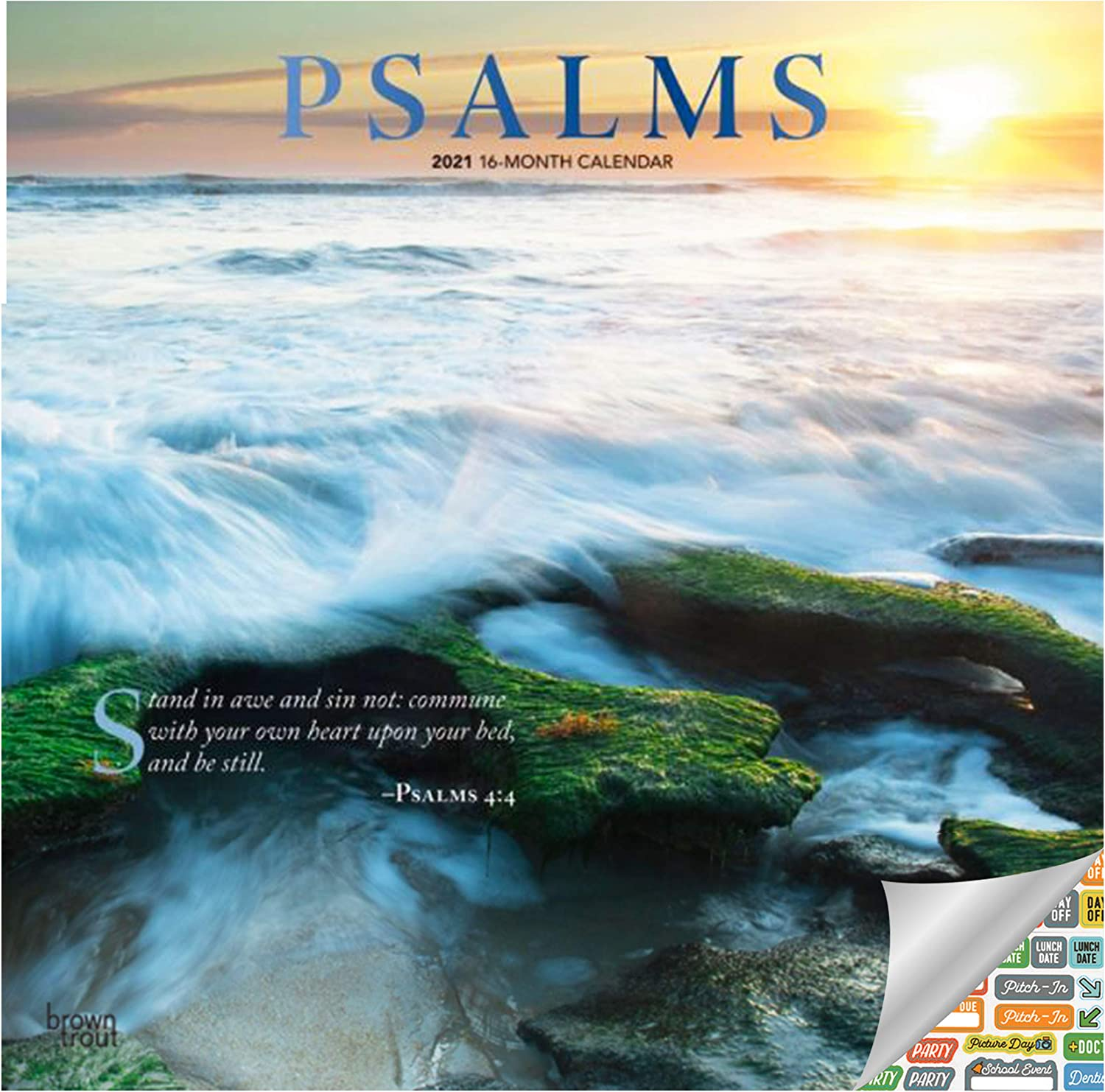 Psalms Calendar 2021 Bundle - Deluxe 2021 Bible Quotes Wall Calendar with Over 100 Calendar Stickers (Christian Gifts, Office Supplies)
