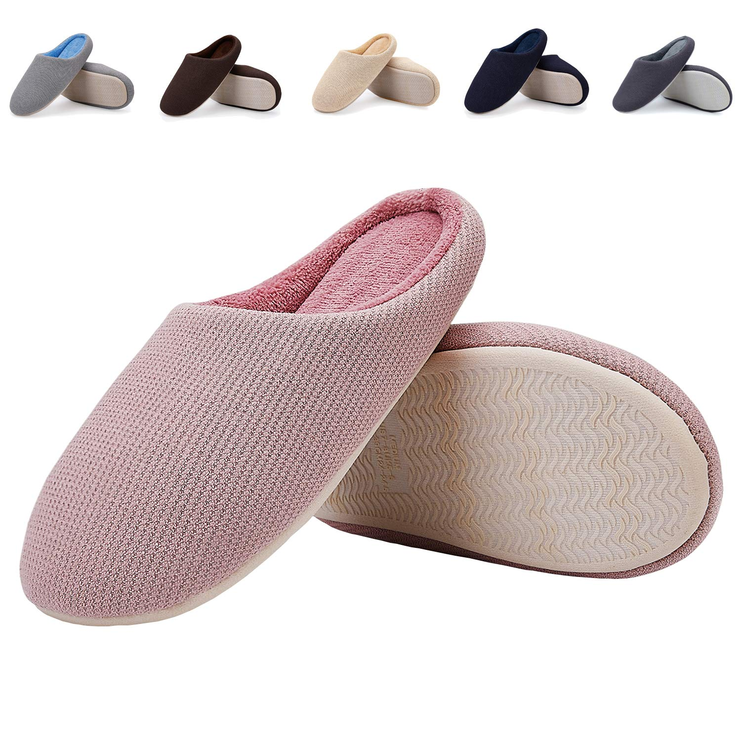 EASTSURE Women Indoor Slippers Memory Foam House Shoes with Anti-Slip Sole,Pink 40-41