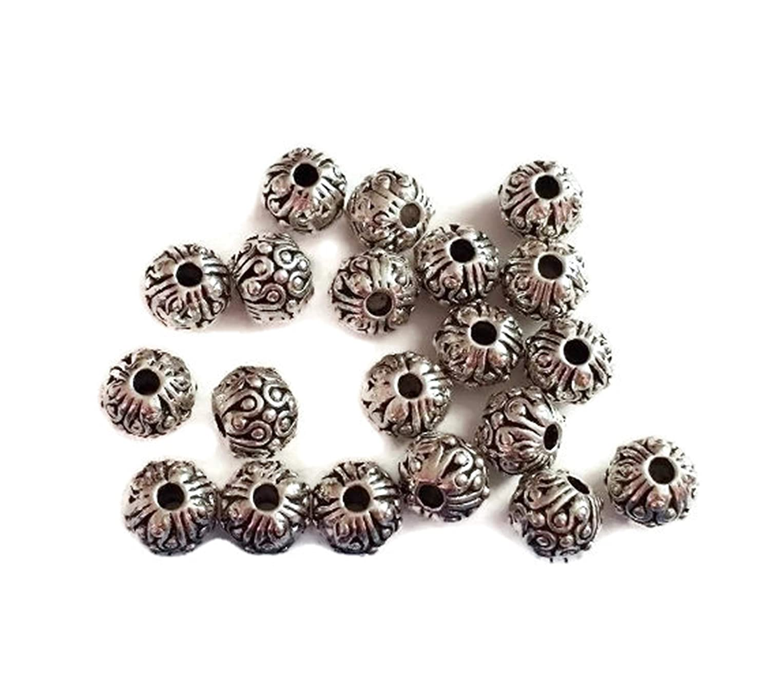 HOT 10pcs DIY jewelry accessories antiqued silver hollow out flower spacer bead