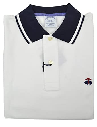 abf1b361 Brooks Brothers Men's Slim Fit Performance Contrast Collar Pique Polo Shirt  White and Navy Blue (