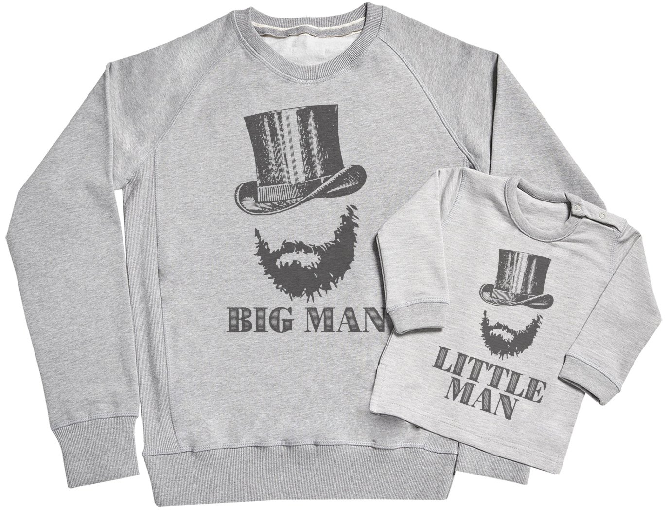 SR - Big Man & Little Man Father & Baby Sweatshirt Gift Set - Matching Sweater Dad & Baby Gift Set - Grey, Large & 0-6 Months by Spoilt Rotten Sweaters
