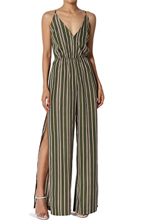 24e42a5aeb8 Amazon.com  TheMogan Sleeveless Striped Crossover V Neck Tie Open Back Wide  Leg Jumpsuit  Clothing