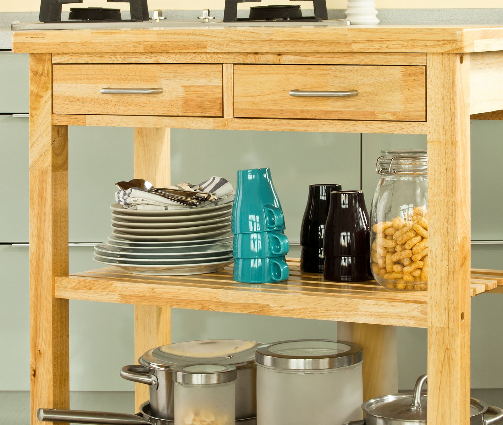 Haotian FKW24-N (natual), Rubber Wood Kitchen Trolley Cart with Two Drawers & Shelves, Kitchen Storage Trolley, L80cm(31.5in)xW40cm(15.7in)xH90cm(35.4in) by Haotian (Image #6)