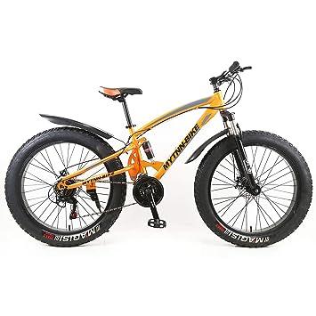 MYTNN Bicicleta de montaña Tipo fatbike de 26 Pulgadas, 21 velocidades Shimano, con amortiguación