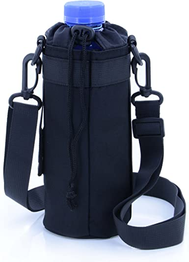 Durable Water Bottle Carrier Insulated Cover Bag Holder Strap Pouch Black