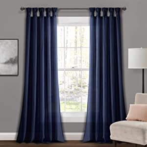 "Lush Decor Navy Burlap Knotted Tab-Top Window Curtain Panel Pair (95"" x 45"")"