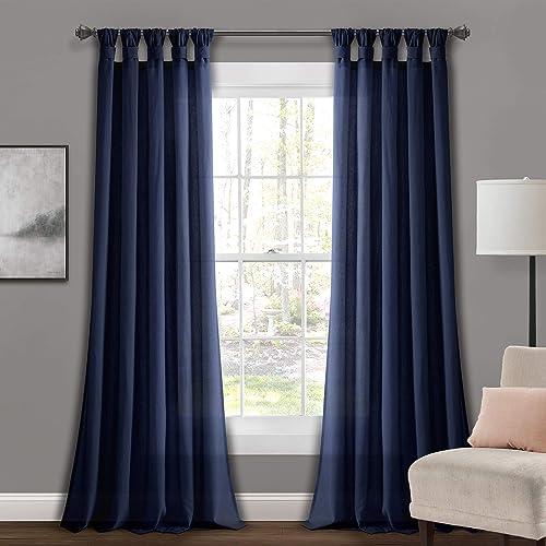 Lush Decor Navy Burlap Knotted X 45 1 Tab-Top Window Curtain Panel Pair 95″ x 45″