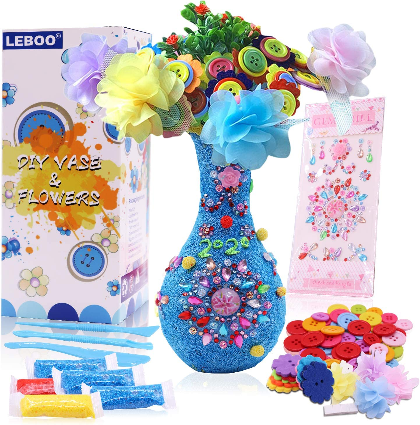DIY Vase and Flowers Fun Art Craft Kit for Girls Boys Age 4 5 6 7 8 9 10 Creativity Project for Birthday Mothers Day Party Game Kids Activities LEBOO Arts and Crafts Gifts for Kids