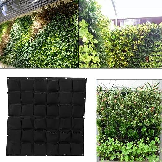 Bolsas para plantas colgantes de pared con 36 bolsillos, bolsa ecológica de jardinería maceta interior y exterior crecimiento vertical, negro: Amazon.es: Jardín