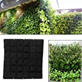 36 Pockets Planting Bags Wall Hanging Gardening Planter Outdoor Indoor Vertical Greening Grow Bags (Black)