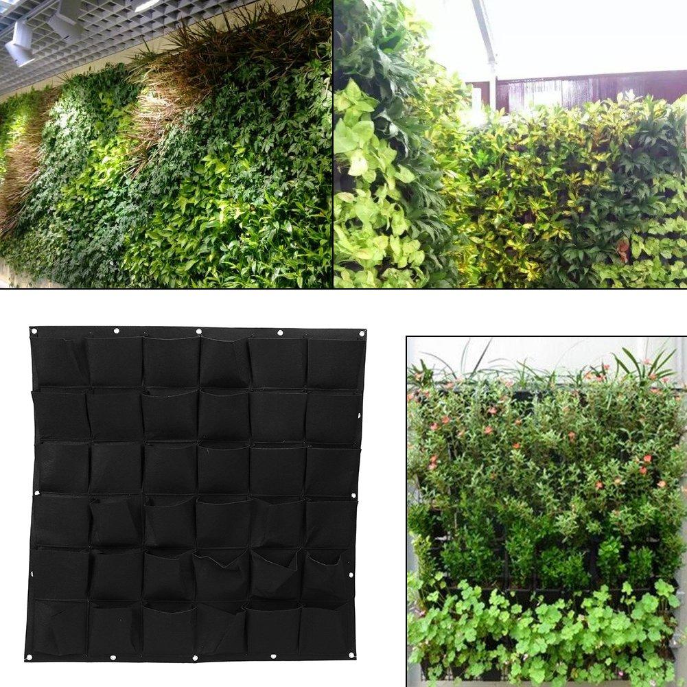 36 Pockets Planting Bags Wall Hanging Gardening Planter Outdoor Indoor Vertical Greening Grow Bags (Black) Yosoo