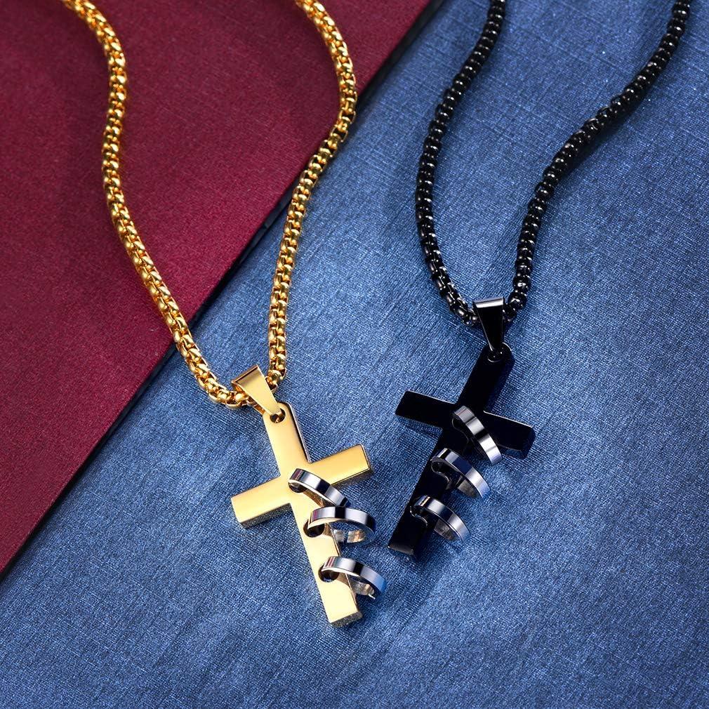 Bijoux Communion Bapt/ème FaithHeart Croix Chretienne-Cha/îne avec Croix Jesus Christ Pendentif Homme//Femme en Acier 316L INOX Argent/é//Or//Noir avec Cha/îne R/églable 55+5cm Bo/îte Cadeau Inclus 22+2