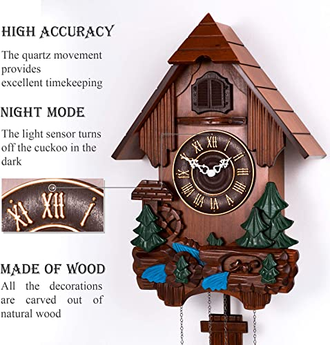 Polaris Clocks Cuckoo Clock in German Style with Night Mode Option Multi Color, Water Mill-2