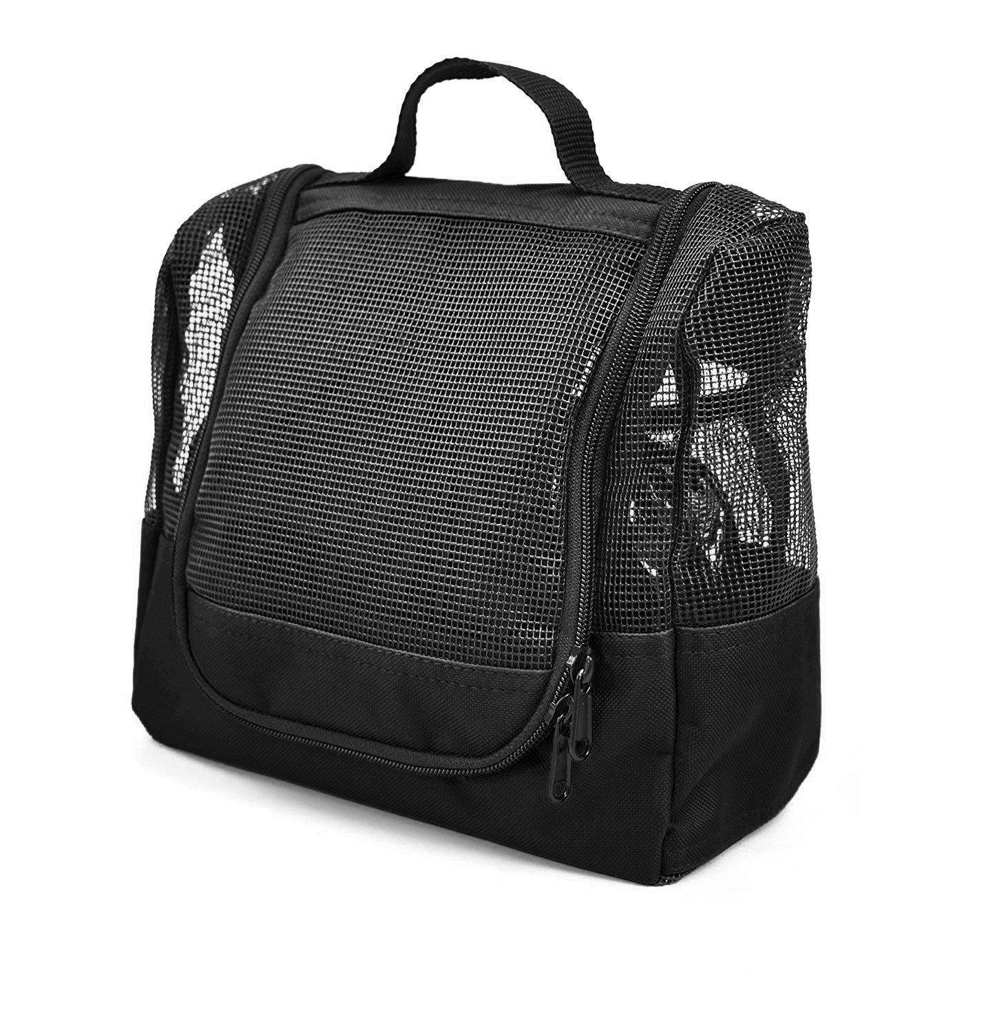 Shower Caddy Case Organizer Tote Nero Black to Hang in The Shower Plus Free Toiletries Bag - by The Fine Living Co USA