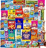 Blue Ribbon Care Package 50 Count Ultimate Sampler Mixed Bars, Cookies, Chips, Candy Snacks Box for Office, Meetings, Schools,Friends & Family, Military,College, Halloween, Father's Day Gift Basket