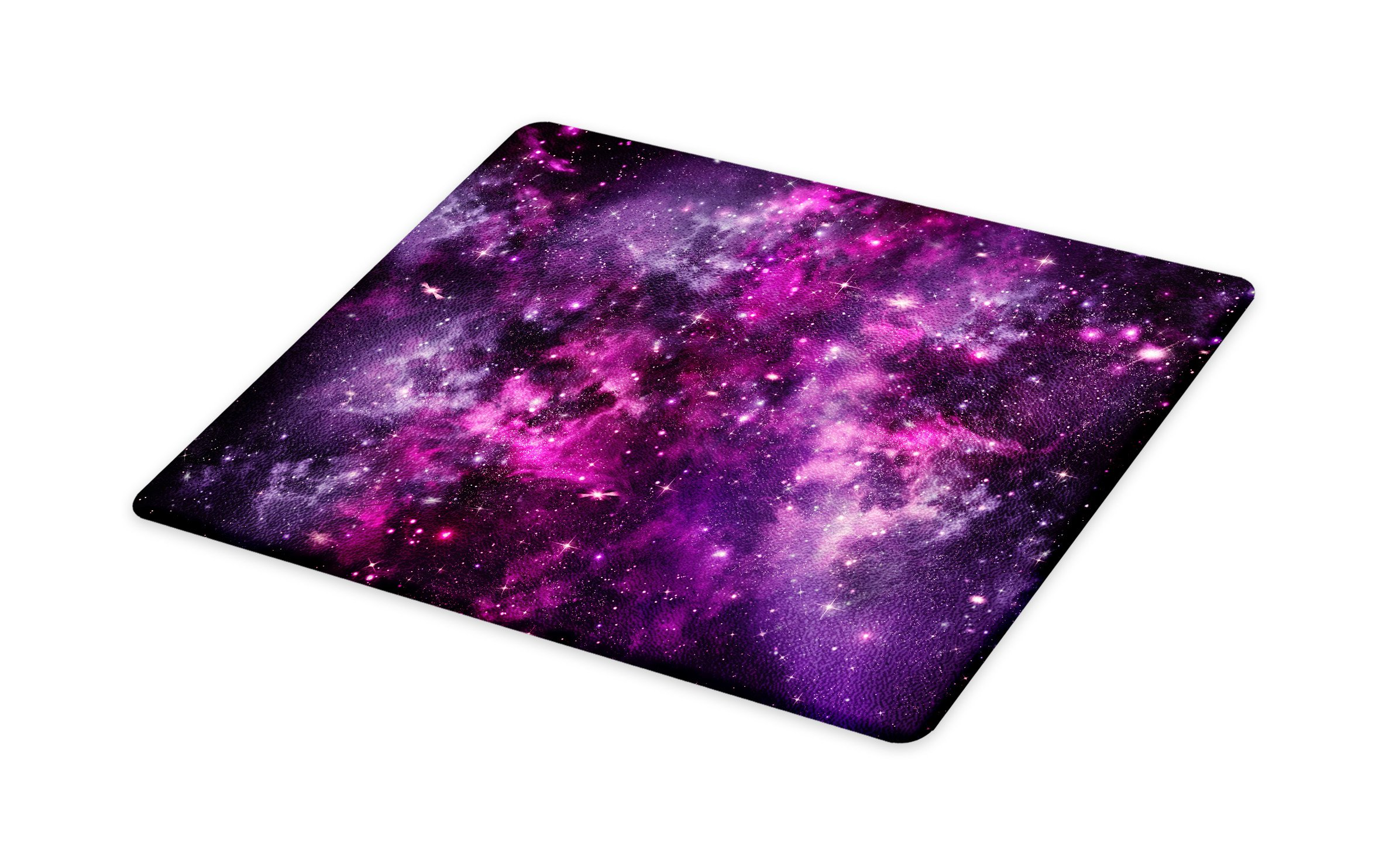 Lunarable Purple Cutting Board, Nebula Gas Cloud Deep Dark in Outer Space with Star Clusters Galaxy Infinity Solar Sky, Decorative Tempered Glass Cutting and Serving Board, Small Size, Purple
