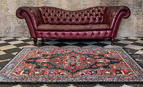 ADGO Siena Collection Traditional Oriental Live Vivid Black Red and Pink Colorful Design Shabby Chic Shed Free Living Dining Bedroom Area Rug 4 x 6